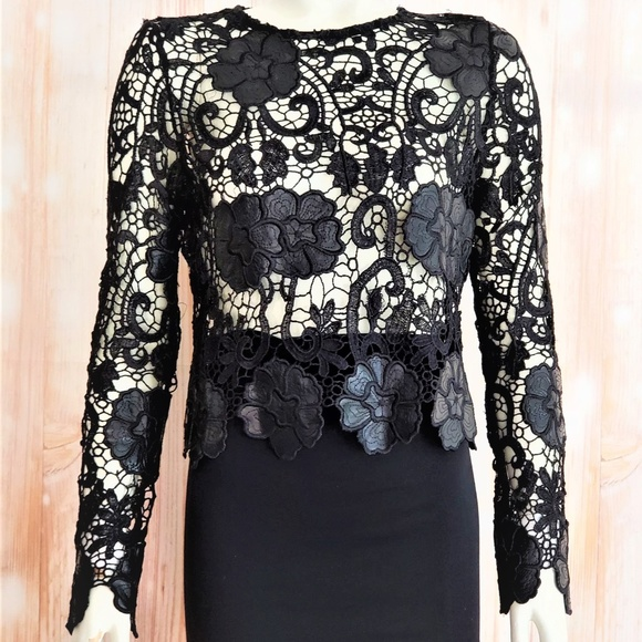 CQ BY CQ Tops - CQ BY CQ BLACK VEGAN LEATHER FLOWERS LACE TOP MED